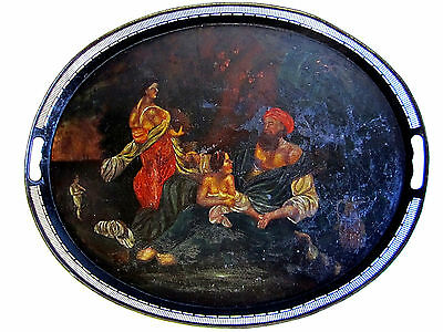 Very Early Antique Toleware Hand Painted Oval Tole Tray Stunning