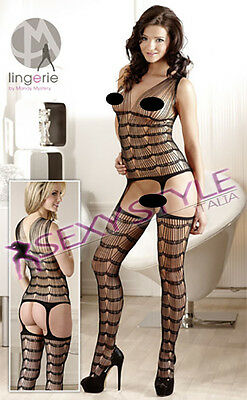 Completino intimo donna catsuit bodystocking nero a rete sexyshop Tg S/L