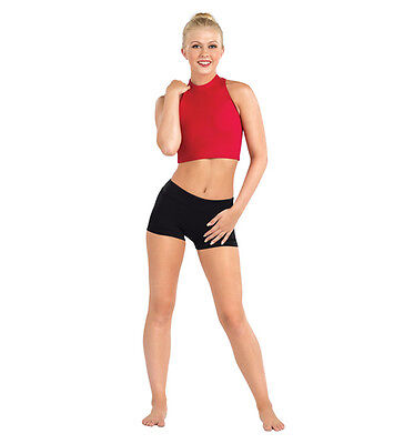 New Bal Togs  Adult size petite  Red mock neck dance  bra  crop top  #BT5072