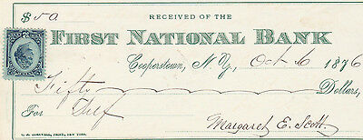 1876  FIRST NATIONAL BANK of COOPERSTOWN, NY  W/REVENUE STAMP