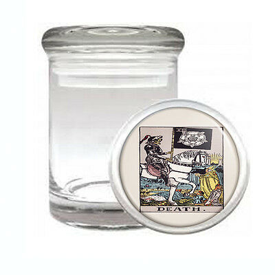 Tarot Card D14 ODORLESS AIR TIGHT MEDICAL GLASS JAR CONTAINER XIII Death