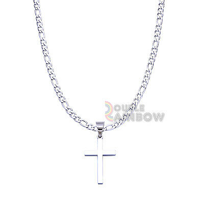 """P30 18-36""""Men's Stainless Steel Silver Plain Cross Figaro Necklace Chain"""