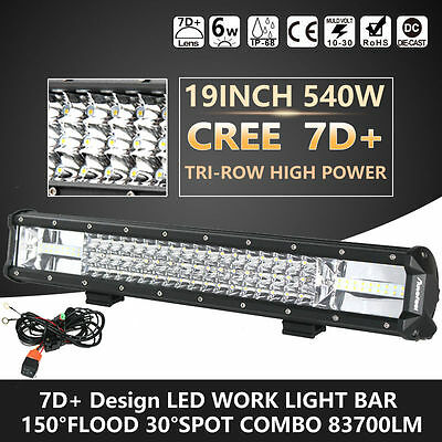 19'' Inch 540W 7D+ Cree Led Work Light Bar Flood Spot Combo Suv 4Wd Offroad Lamp