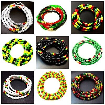 African Waist Beads Rasta Style Ghana Inspired Beaded Belly Chain w/Clasp #1004