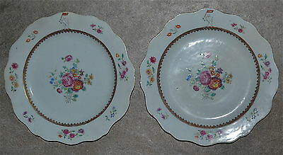 Pair Antique 18th C Chinese Export Famille Rose Armorial Porcelain Plates AS IS