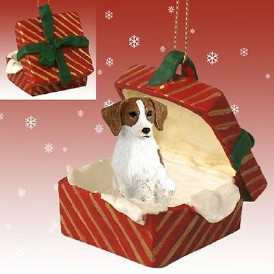Brittany Spaniel Brown & White Gift Box Red Ornament