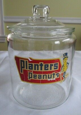 "Vintage Planters Peanuts Glass 10"" Jar Mr. Peanut Counter Display with lid"