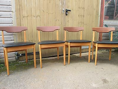 SET OF VINTAGE DINING CHAIRS x 4 1960s DANISH INFLUENCE RETRO MID CENTURY