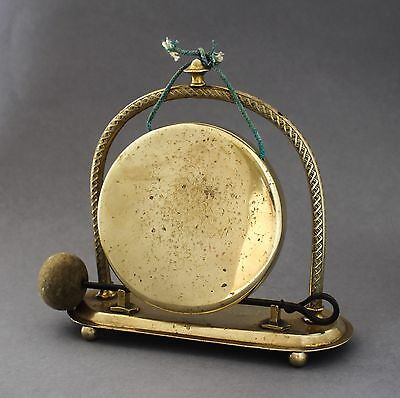 Antique Victorian brass dinner table gong bell country house shabby chic retro