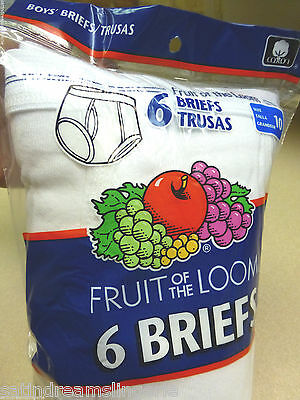 6 Pack Boys Fruit of the Loom White Tighties Briefs Classic Underwear Sz 10 NWT