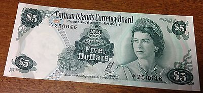 Cayman  Islands $5  1971 Queen  Rare Currency  Caribbean Money Bank Note