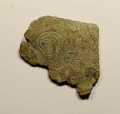 Unique Byzantine Bronze Plate With Symbols And Image Of Saint - Rare Artifact