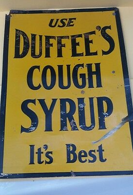1920 Duffee's cough syrup sign THE BEST tin