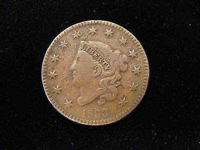 1833 LARGE CENT Classic Head  - VF