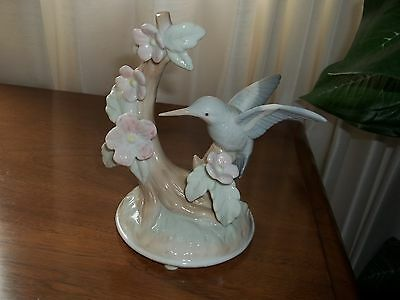 Porcelain Humming Bird With Flowers Pastel Colors