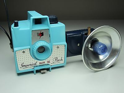 Vintage Blue Imperial Mark XII Flash Camera - with Blue Flash