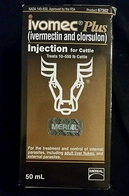 Merial Ivomec Plus Parasiticide 50mL Injection for Cattle 67302 FREE SHIPPING