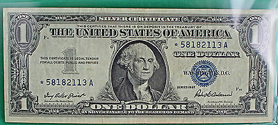 1957 $1 Star Note Silver Certificate Circulated Paper Money Currency # 2113 XF