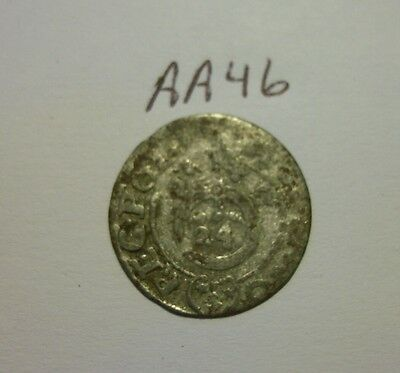 silver medieval coin. (aa46)