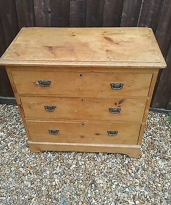 victorian ,rustic antique pine chest of 3 drawers