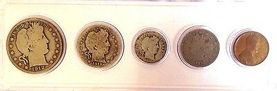 1912 Barber Set- 5 Piece Coin Set