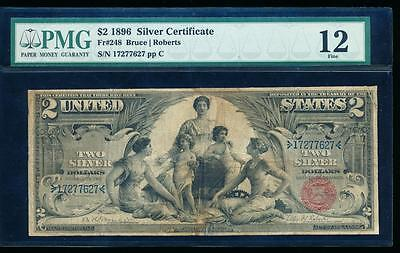 AC Fr 248 1896 $2 Silver Certificate EDUCATIONAL PMG 12 comment