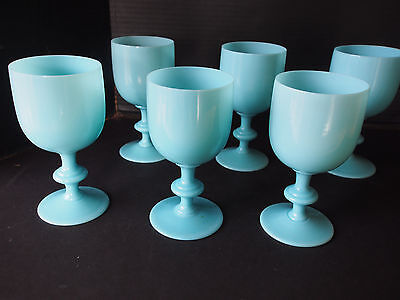 "6.5"" Lot 6 Portieux Vallerysthal PV Blue Opaline Water Wine Stem Glass Goblet #1"