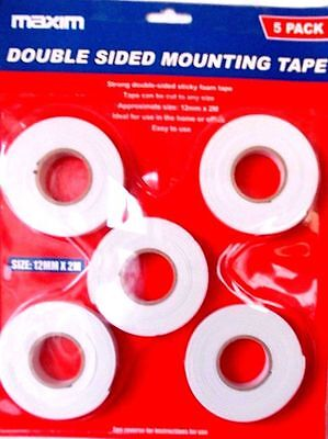 SELF ADHESIVE DOUBLE SIDED  STICKY TAPE- 5 Rolls x 2 Metres-12MM WIDE-WHITE-NEW