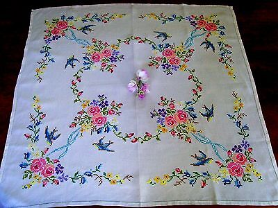 Beautiful Vintage Hand Embroidered Cross Stitch Floral Tablecloth Birds Roses