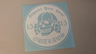 Outlaw Support your local Outlaws Biker black and white Motorcycle Bike decal