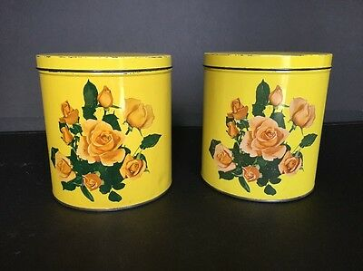 """Decoware Canisters Tins Yellow Roses Vintage (2 Tins 6"""" X 7"""")"""