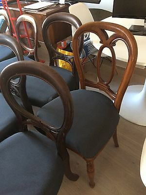 8 victorian balloon back wooden dining chairs in grey cotton