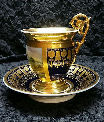 Antique Sevres Style Porcelain Cobalt Gold Napoleon Chocolate Cup Figural Handle
