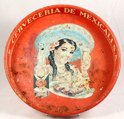 Vntg Original Pilsener Superior Beer Tray Mexicali Mexico Collectible Bar Ware