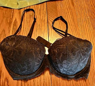 "VICTORIA'S SECRET PINK Bra SZ 34C Push-up"" Black Lace Padded Underwire"