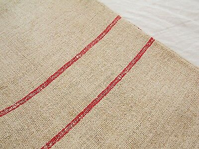 21X49 Vtg Antique RED STRIPE Primitive HEMP LINEN Fabric FEED SACK GRAIN BAG