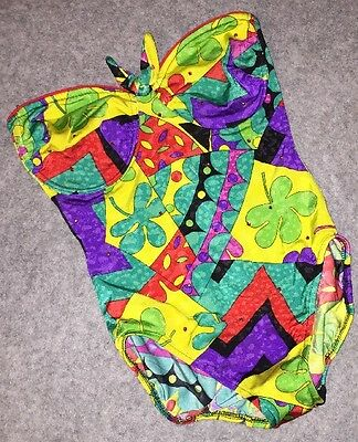 Vtg 80s 90s Strapless One Piece Swimsuit Floral Colorful Size 14 36B Underwire