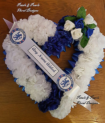 Large Artificial Silk Flower Football Funeral Heart Wreath Blue White Chelsea FC