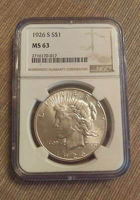 1926-S $1 Peace Silver Dollar NGC MS63