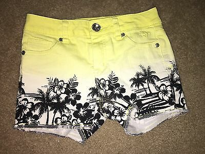 Girls Justice Yellow Ombre Stretch Denim Jean Shorts 12 Slim Tropical Hawaiian