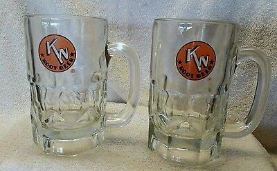 """PAIR VINTAGE KN ROOT BEER """"HOME OF THE FROZEN MUG"""" HEAVY GLASS 16 OZ MUGS~50's"""