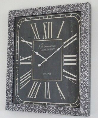 Embossed Wall Clock Blackened Antique Silver Metal Rectangle Roman Numerals
