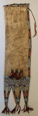 1890's Crow Indian Three Tab Style Beaded Pipe Bag W/Tin Cones Sewn On Deer Hide