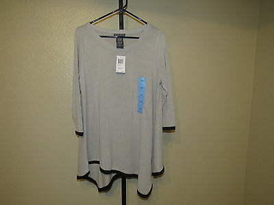NWT Chelsea & Theodore Womens Asymmetrical Top-Carved Bone/Black-Large-$68
