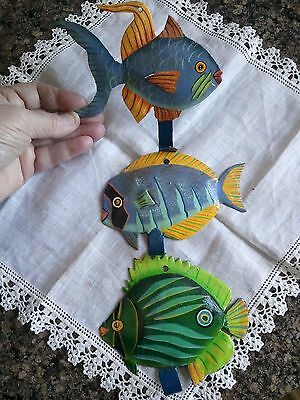 Tropical Fish Metal Wall Art with Hooks ~ colorful wall decor!