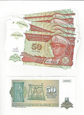 Zaire 50 New Makuta 1993,   Issue 10 Consec Serial Notes  Lot  Nice Unc