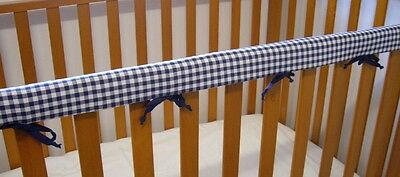 Cot Rail Cover Crib Teething Pad Navy Gingham SET OF TWO