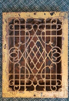 Vintage VICTORIAN Cast Iron Floor Grille 12x14 Heat Grate Register with Louvers