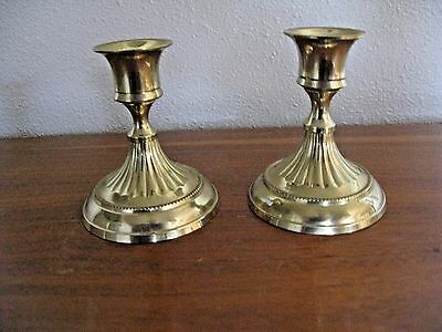 """BRASS Taper Candle Holders  Set of 2 Vintage 3 3/8"""" Tall"""