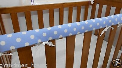 2 x Baby Cot Rail Cover Crib Teething Pad Spots on Baby Blue *REDUCED SET OF TWO